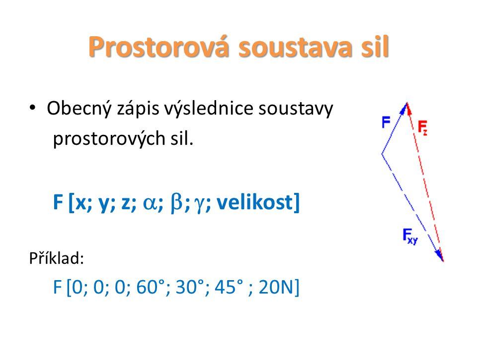 Prostorová soustava sil Obecný zápis výslednice soustavy prostorových sil. F[x; y; z;  ;  ;  ; velikost] Příklad: F [0; 0; 0; 60°; 30°; 45° ; 20N]
