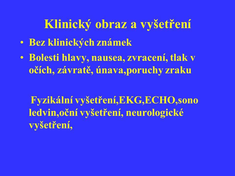 Klinický obraz a vyšetření Bez klinických známek Bolesti hlavy, nausea, zvracení, tlak v očích, závratě, únava,poruchy zraku Fyzikální vyšetření,EKG,E