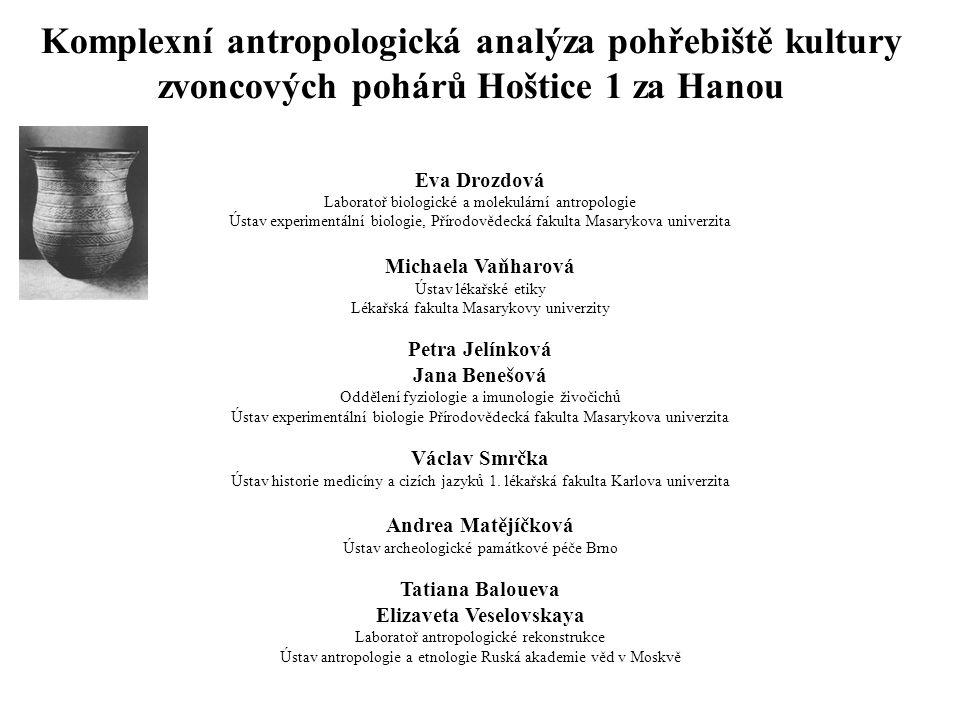 Komplexní antropologická analýza pohřebiště kultury zvoncových pohárů Hoštice 1 za Hanou Eva Drozdová Laboratoř biologické a molekulární antropologie