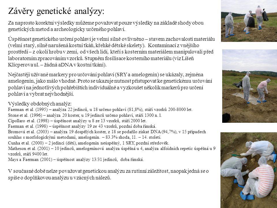 Závěry genetické analýzy: Za naprosto korektní výsledky můžeme považovat pouze výsledky na základě shody obou genetických metod a archeologicky určené
