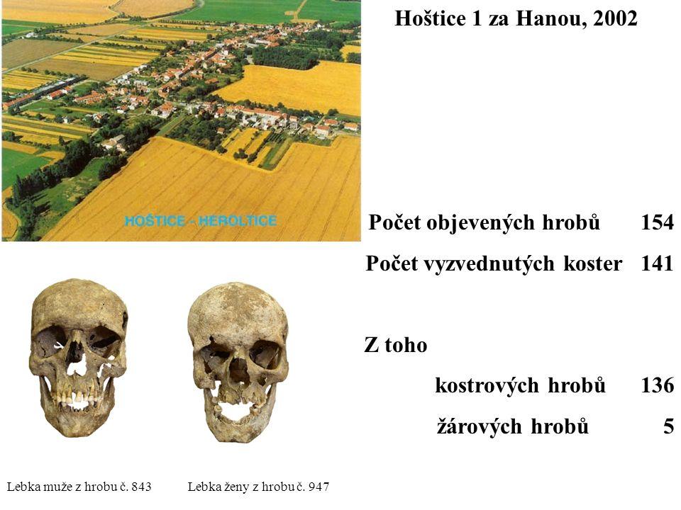 Hoštice 1 za Hanou, 2002 Počet objevených hrobů 154 Počet vyzvednutých koster 141 Z toho kostrových hrobů 136 žárových hrobů 5 Lebka muže z hrobu č. 8