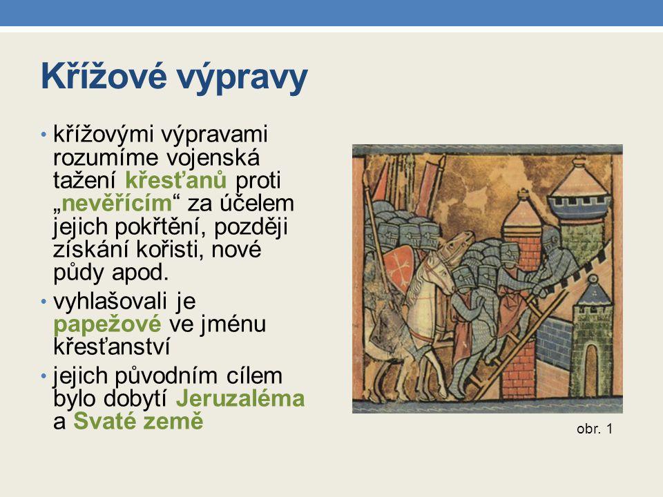 Křížové výpravy křížové výpravy směřovaly: 1) na Pyrenejský poloostrov, obsazený od počátku 8.