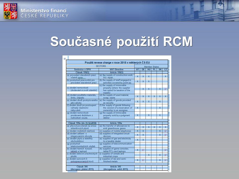 Současné použití RCM