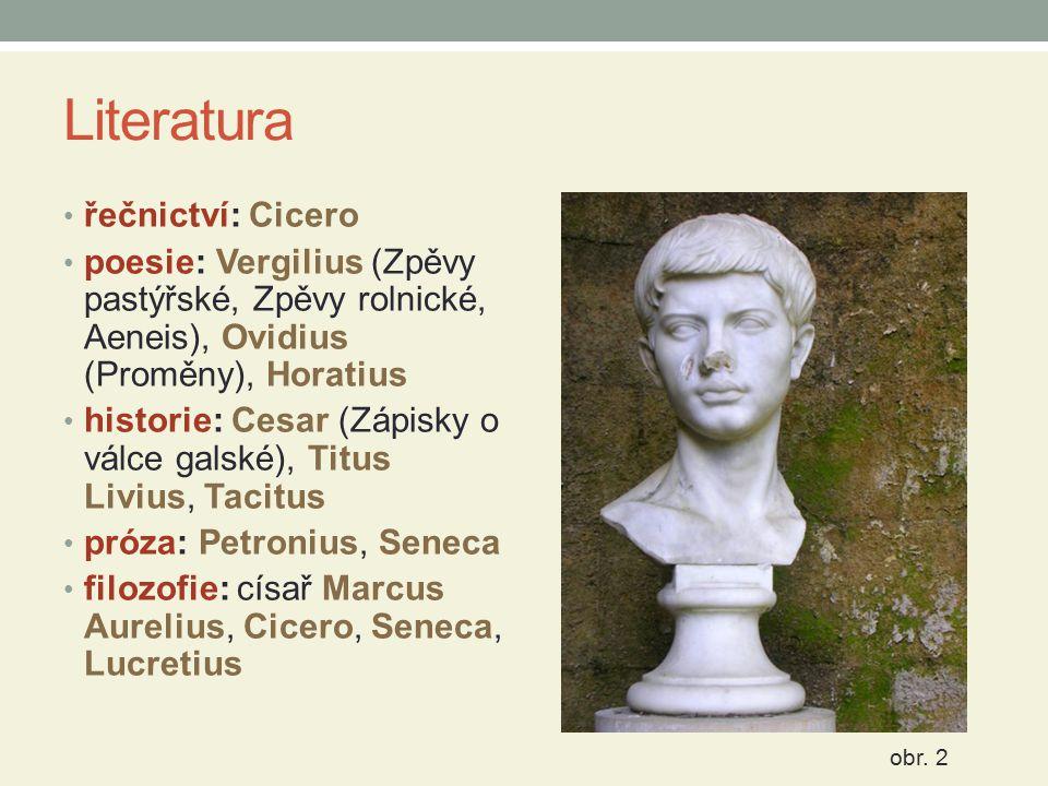 Literatura řečnictví: Cicero poesie: Vergilius (Zpěvy pastýřské, Zpěvy rolnické, Aeneis), Ovidius (Proměny), Horatius historie: Cesar (Zápisky o válce
