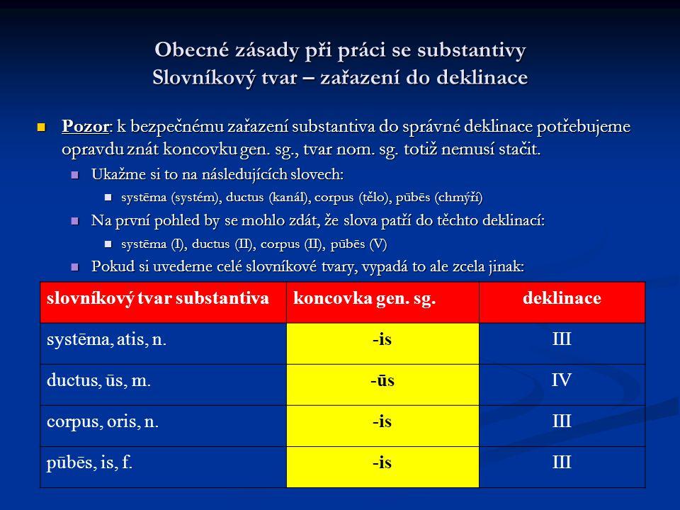 Obecné zásady při práci se substantivy Slovníkový tvar – zařazení do deklinace Pozor: k bezpečnému zařazení substantiva do správné deklinace potřebujeme opravdu znát koncovku gen.