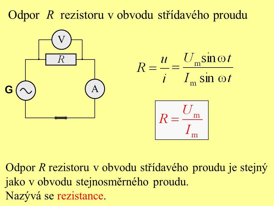 Odpor R rezistoru v obvodu střídavého proudu je stejný jako v obvodu stejnosměrného proudu. Nazývá se rezistance. Odpor R rezistoru v obvodu střídavéh