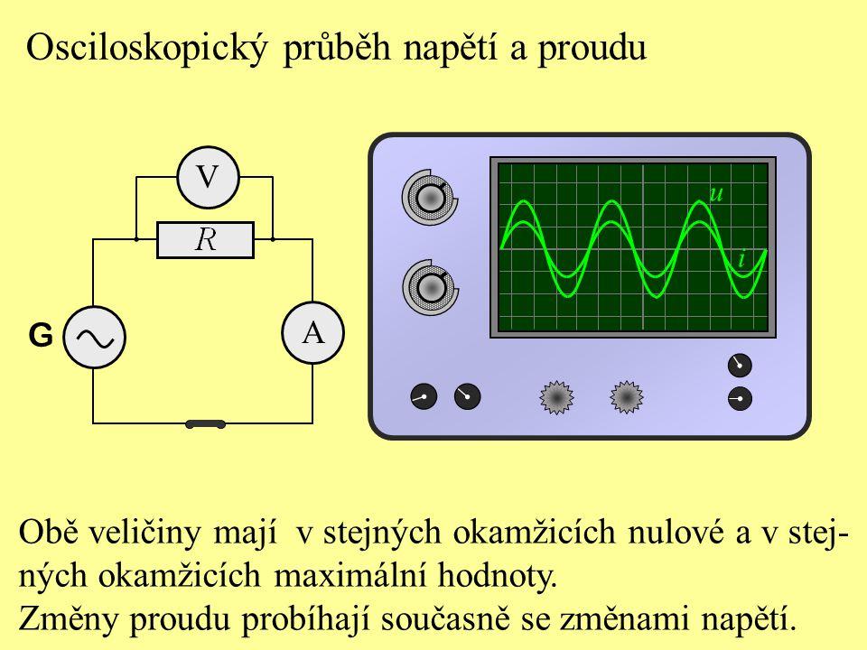 Osciloskopický průběh napětí a proudu A G V Obě veličiny mají v stejných okamžicích nulové a v stej- ných okamžicích maximální hodnoty. Změny proudu p
