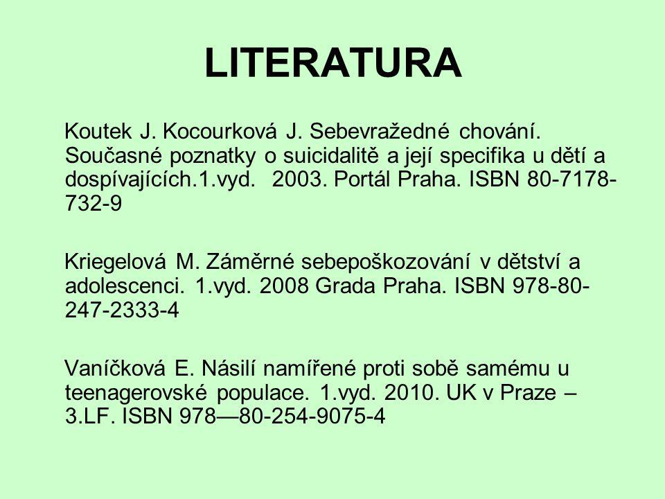 LITERATURA Koutek J. Kocourková J. Sebevražedné chování. Současné poznatky o suicidalitě a její specifika u dětí a dospívajících.1.vyd. 2003. Portál P