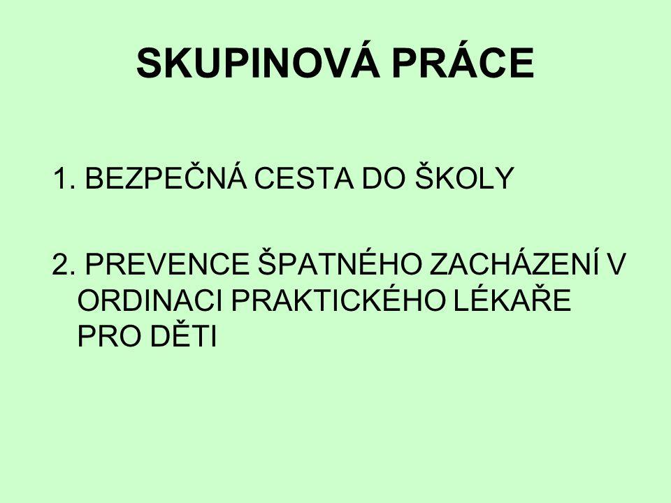 SKUPINOVÁ PRÁCE 1.BEZPEČNÁ CESTA DO ŠKOLY 2.