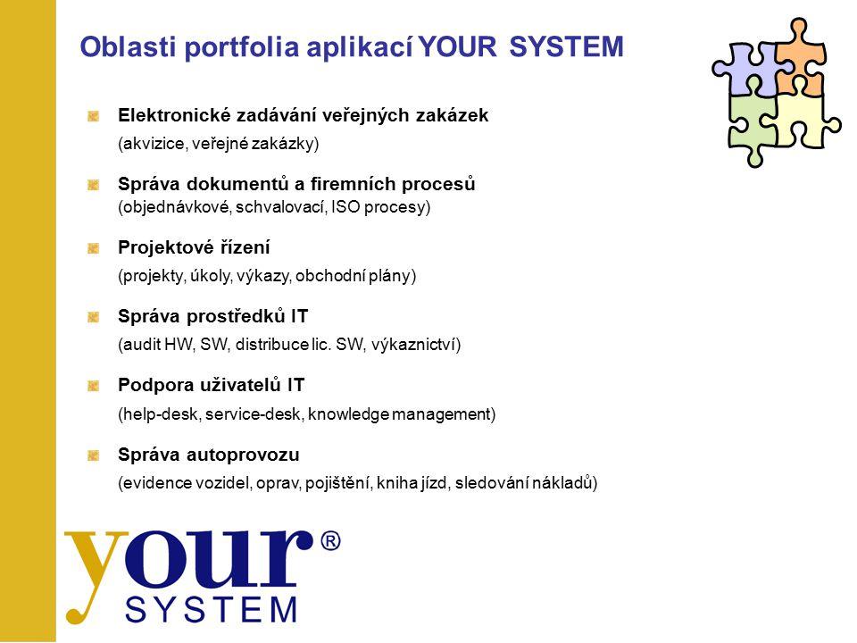 Elektronické zadávání veřejných zakázek (akvizice, veřejné zakázky) Správa dokumentů a firemních procesů (objednávkové, schvalovací, ISO procesy) Proj