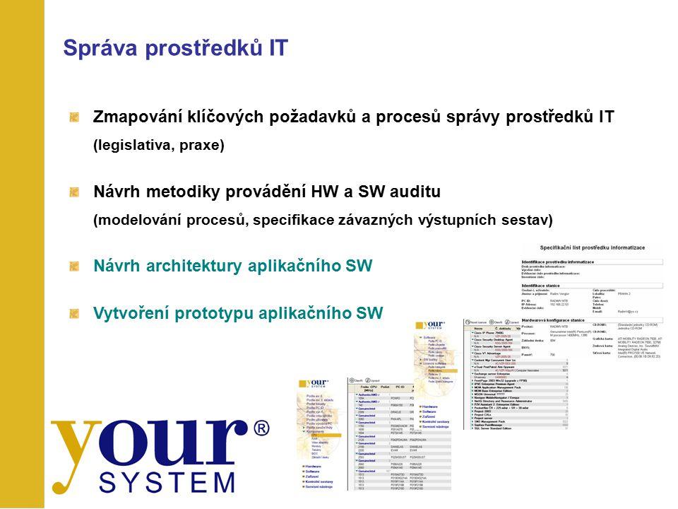 Zmapování klíčových požadavků a procesů správy prostředků IT (legislativa, praxe) Návrh metodiky provádění HW a SW auditu (modelování procesů, specifi