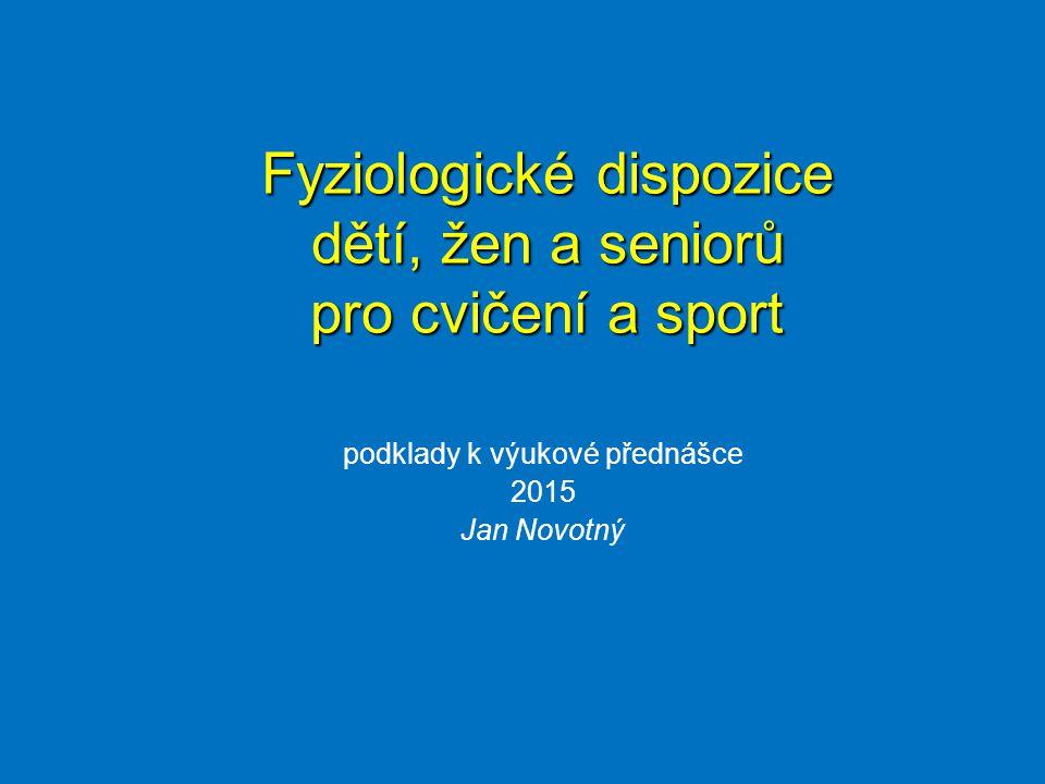 podklady k výukové přednášce 2015 Jan Novotný Fyziologické dispozice dětí, žen a seniorů pro cvičení a sport