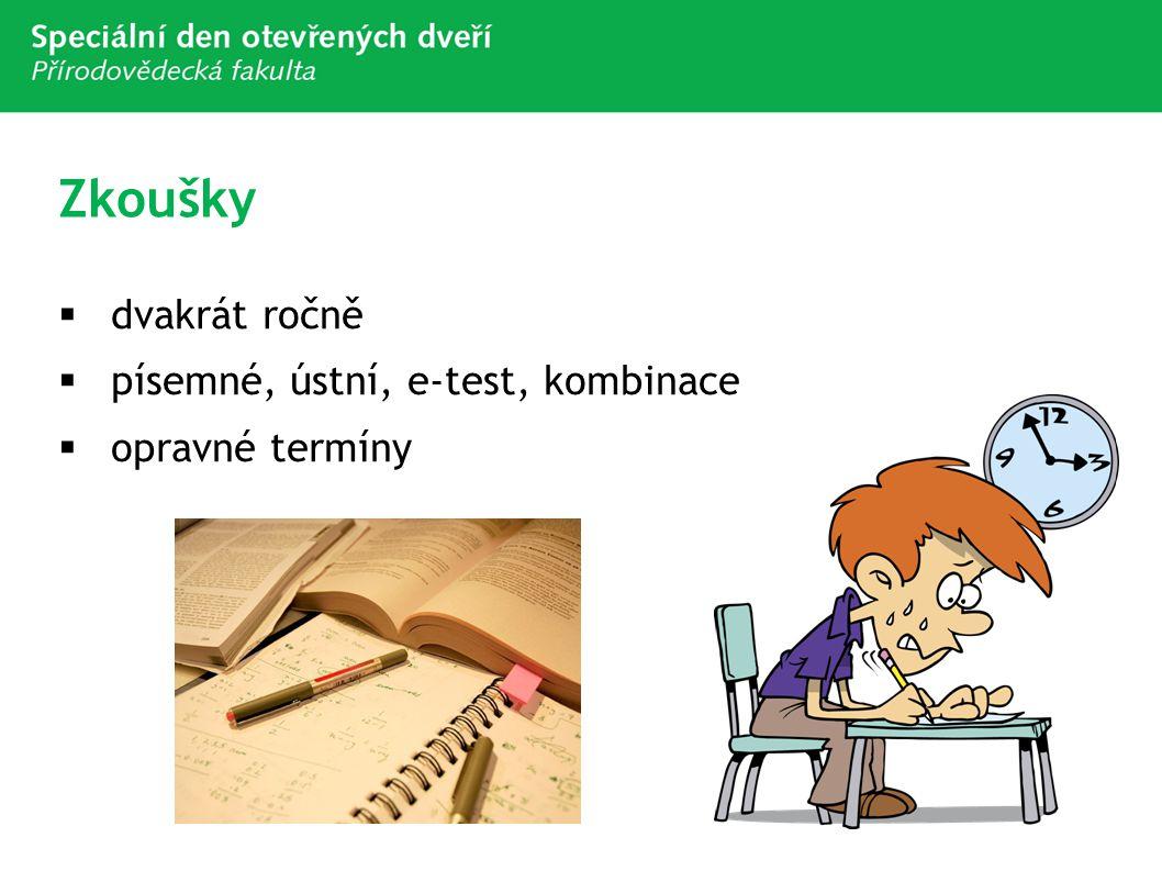 Zkoušky  dvakrát ročně  písemné, ústní, e-test, kombinace  opravné termíny