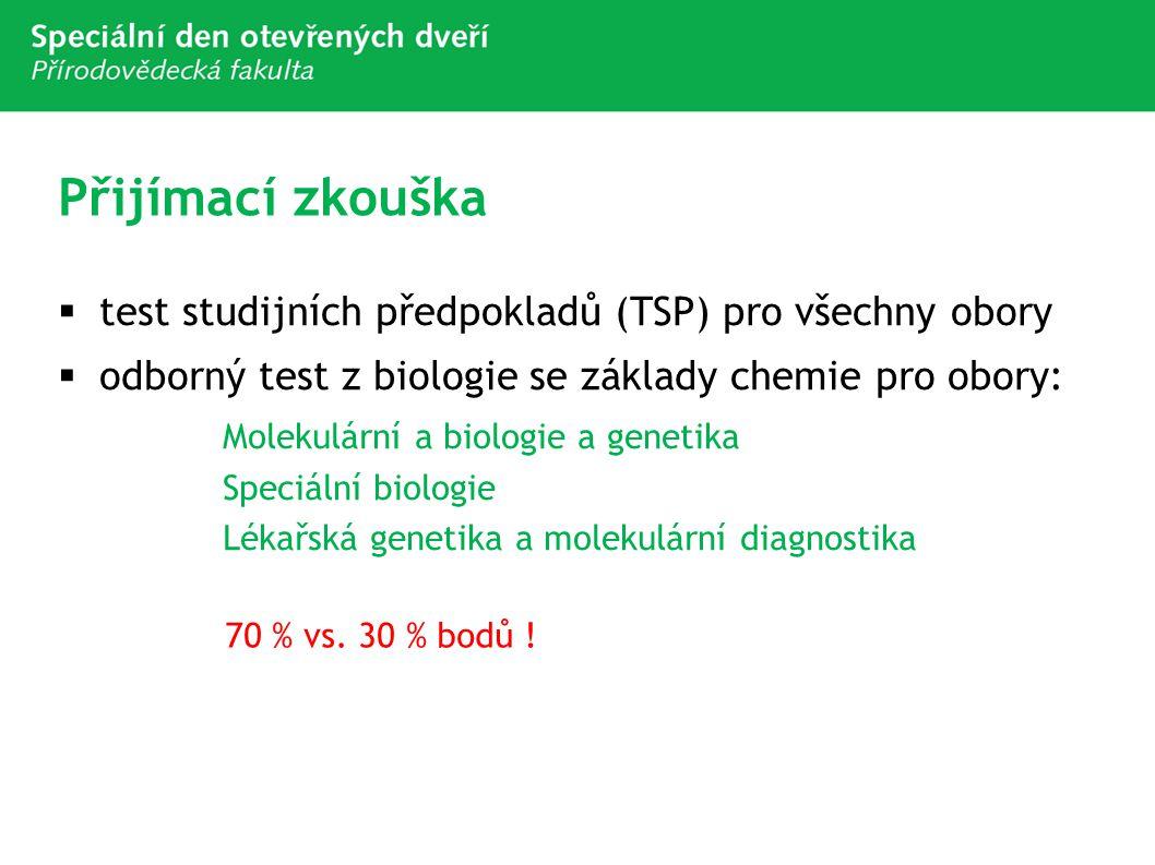 Přijímací zkouška  test studijních předpokladů (TSP) pro všechny obory  odborný test z biologie se základy chemie pro obory: Molekulární a biologie