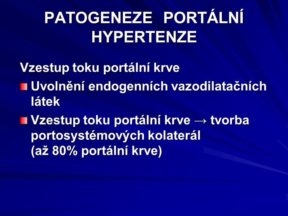 PATOGENEZE PORTÁLNÍ HYPERTENZE Vzestup toku portální krve Uvolnění endogenních vazodilatačních látek Vzestup toku portální krve → tvorba portosystémových kolaterál (až 80% portální krve)