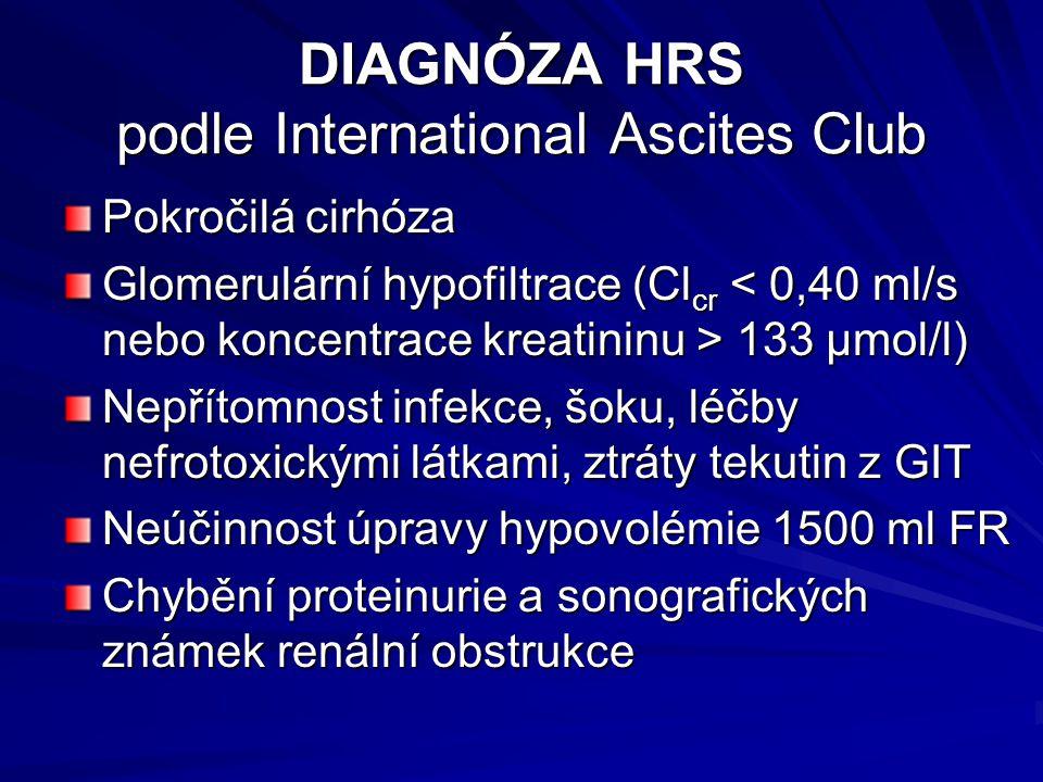 DIAGNÓZA HRS podle International Ascites Club Pokročilá cirhóza Glomerulární hypofiltrace (Cl cr 133 μmol/l) Nepřítomnost infekce, šoku, léčby nefrotoxickými látkami, ztráty tekutin z GIT Neúčinnost úpravy hypovolémie 1500 ml FR Chybění proteinurie a sonografických známek renální obstrukce