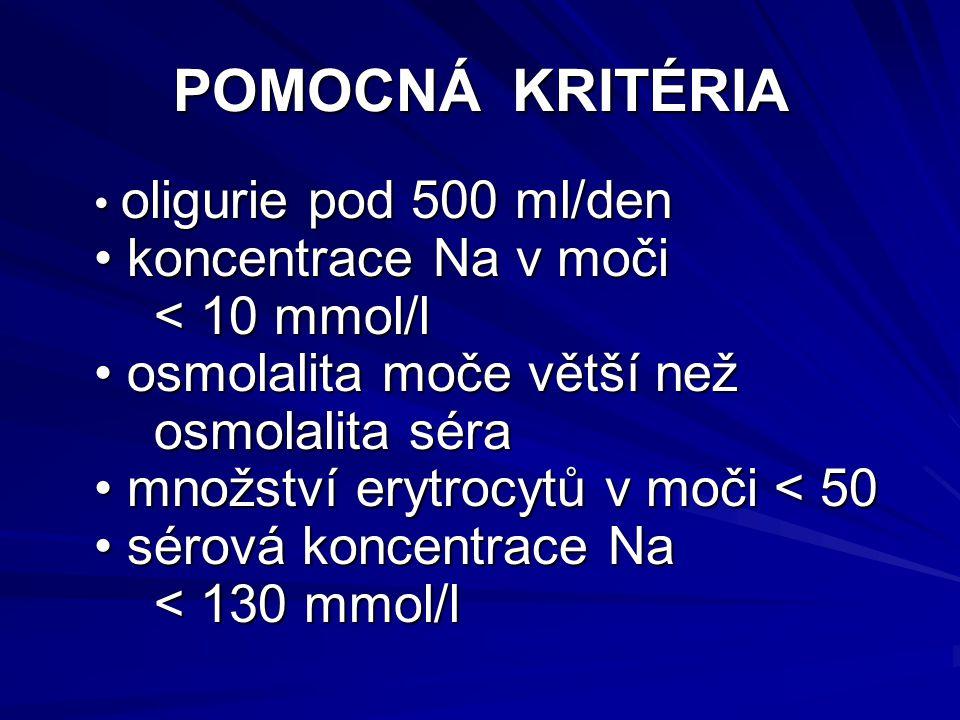 POMOCNÁ KRITÉRIA oligurie pod 500 ml/den koncentrace Na v moči < 10 mmol/l osmolalita moče větší než osmolalita séra množství erytrocytů v moči < 50 sérová koncentrace Na < 130 mmol/l oligurie pod 500 ml/den koncentrace Na v moči < 10 mmol/l osmolalita moče větší než osmolalita séra množství erytrocytů v moči < 50 sérová koncentrace Na < 130 mmol/l
