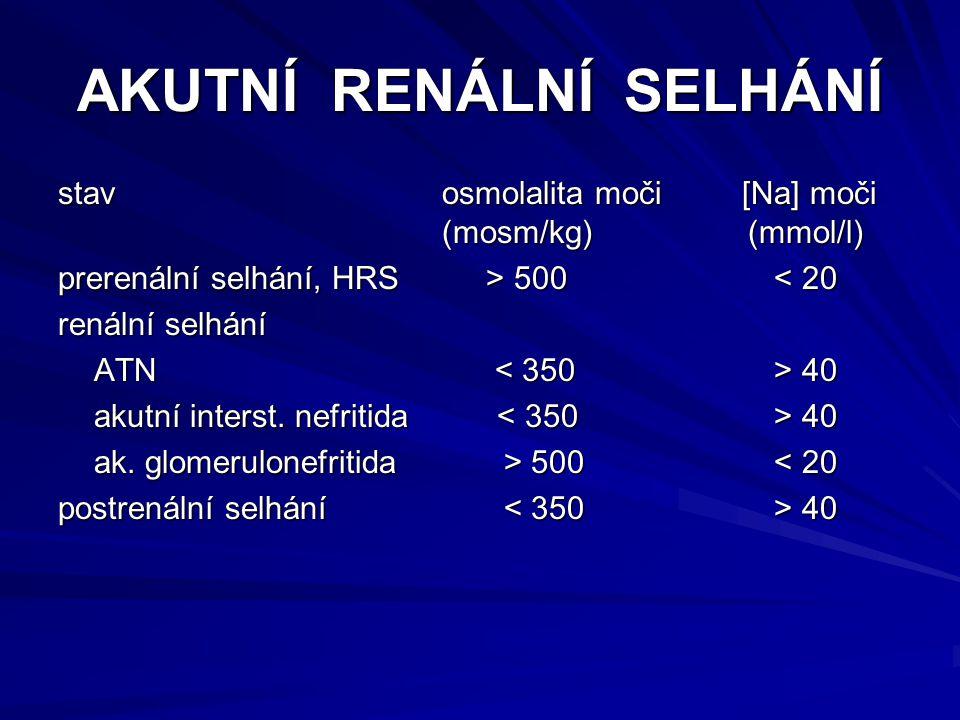 AKUTNÍ RENÁLNÍ SELHÁNÍ stavosmolalita moči [Na] moči (mosm/kg) (mmol/l) prerenální selhání, HRS > 500 500 < 20 renální selhání ATN 40 akutní interst.