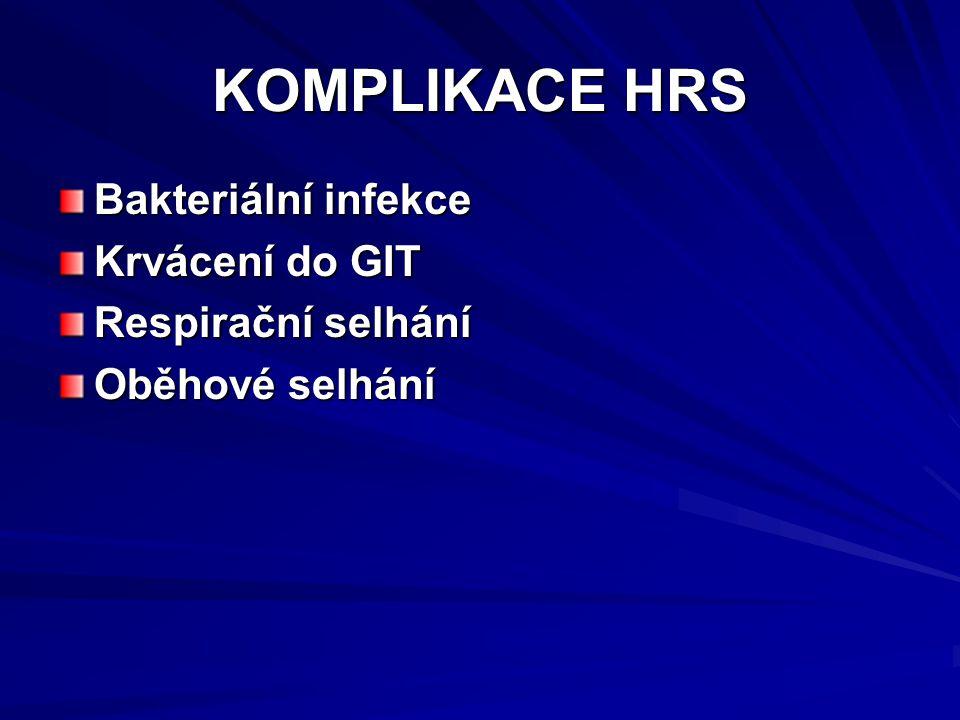 KOMPLIKACE HRS Bakteriální infekce Krvácení do GIT Respirační selhání Oběhové selhání