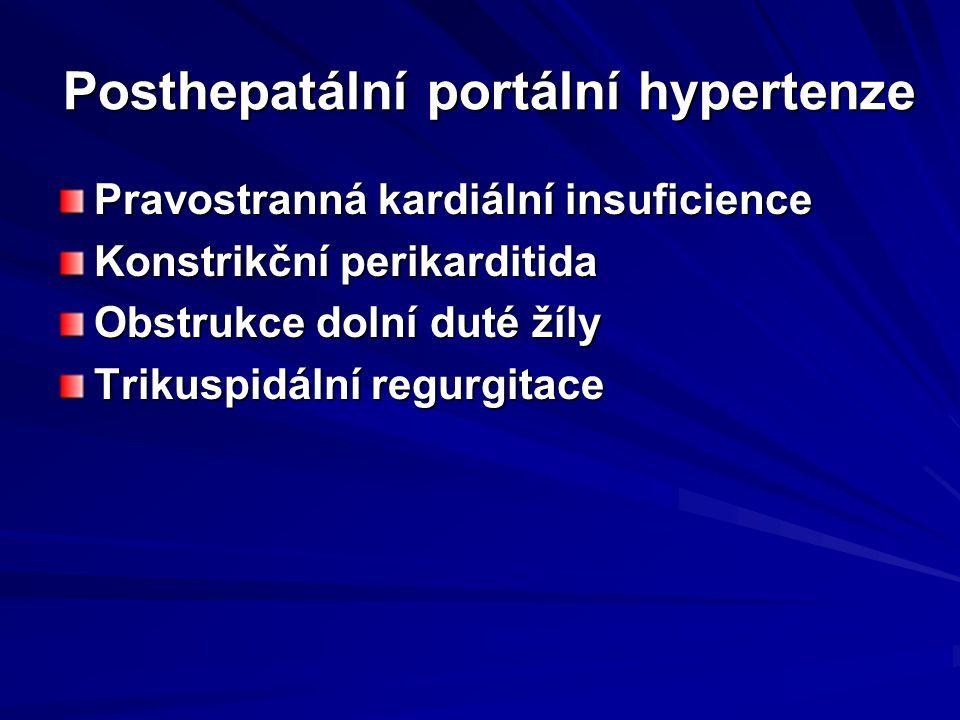 Posthepatální portální hypertenze Pravostranná kardiální insuficience Konstrikční perikarditida Obstrukce dolní duté žíly Trikuspidální regurgitace