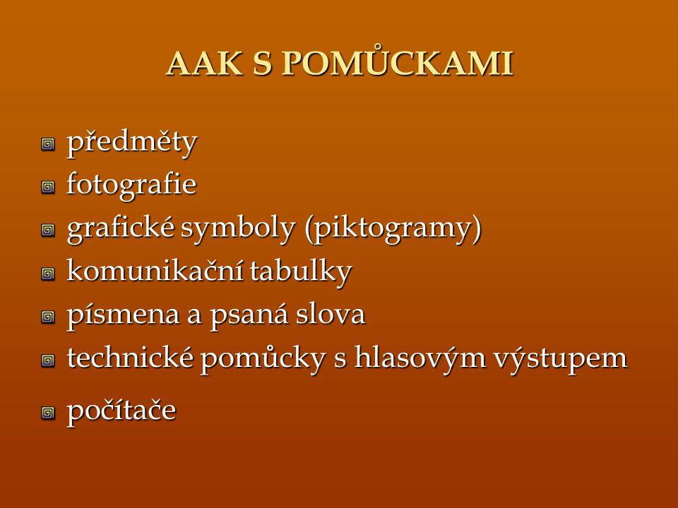 AAK S POMŮCKAMI předmětyfotografie grafické symboly (piktogramy) komunikační tabulky písmena a psaná slova technické pomůcky s hlasovým výstupem počít