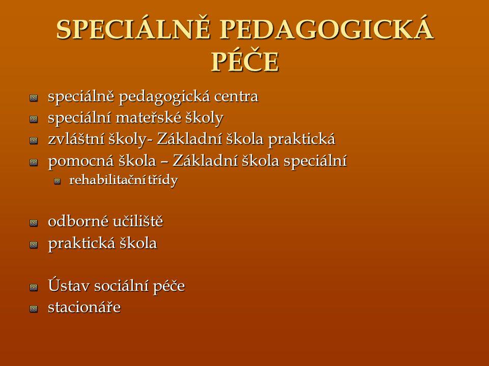 SPECIÁLNĚ PEDAGOGICKÁ PÉČE speciálně pedagogická centra speciální mateřské školy zvláštní školy- Základní škola praktická pomocná škola – Základní ško