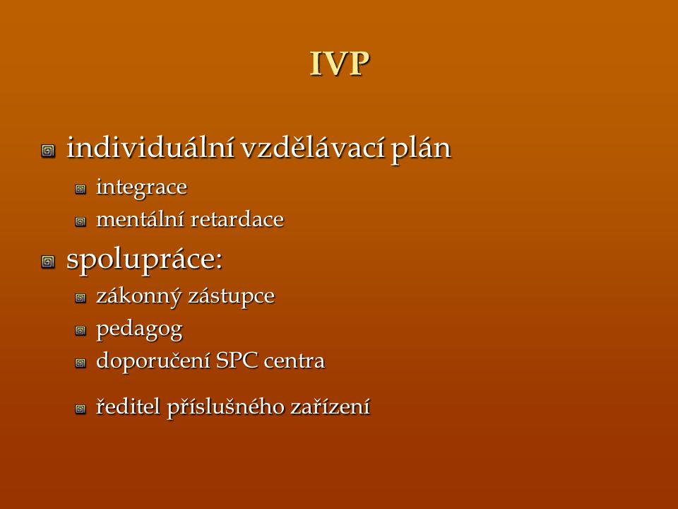 IVP individuální vzdělávací plán integrace mentální retardace spolupráce: zákonný zástupce pedagog doporučení SPC centra ředitel příslušného zařízení