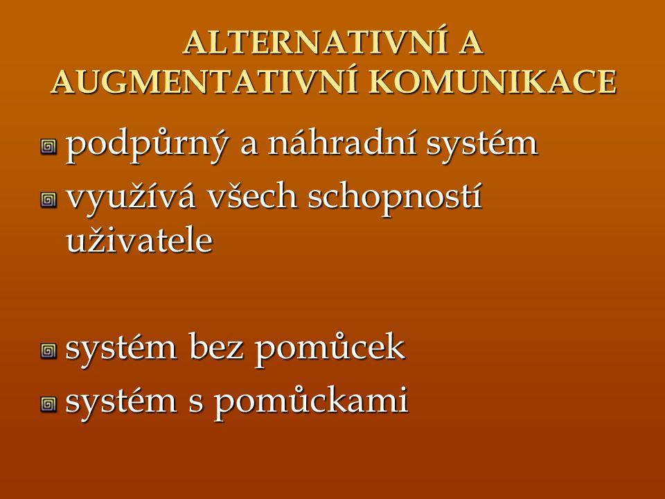 ALTERNATIVNÍ A AUGMENTATIVNÍ KOMUNIKACE podpůrný a náhradní systém využívá všech schopností uživatele systém bez pomůcek systém s pomůckami