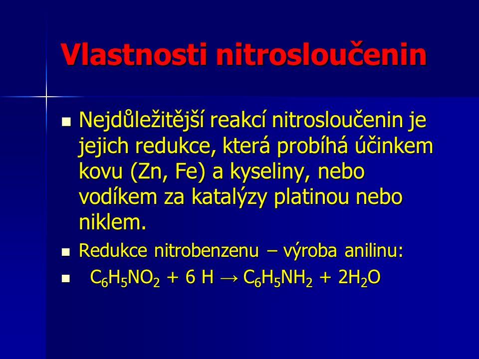 Vlastnosti nitrosloučenin Nejdůležitější reakcí nitrosloučenin je jejich redukce, která probíhá účinkem kovu (Zn, Fe) a kyseliny, nebo vodíkem za kata