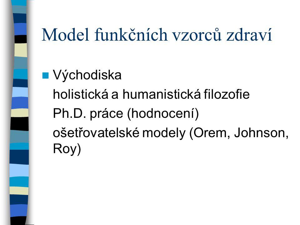 Model funkčních vzorců zdraví Východiska holistická a humanistická filozofie Ph.D. práce (hodnocení) ošetřovatelské modely (Orem, Johnson, Roy)