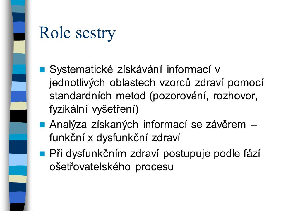 Role sestry Systematické získávání informací v jednotlivých oblastech vzorců zdraví pomocí standardních metod (pozorování, rozhovor, fyzikální vyšetře