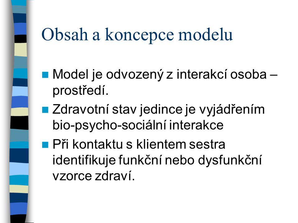 Obsah a koncepce modelu Model je odvozený z interakcí osoba – prostředí. Zdravotní stav jedince je vyjádřením bio-psycho-sociální interakce Při kontak