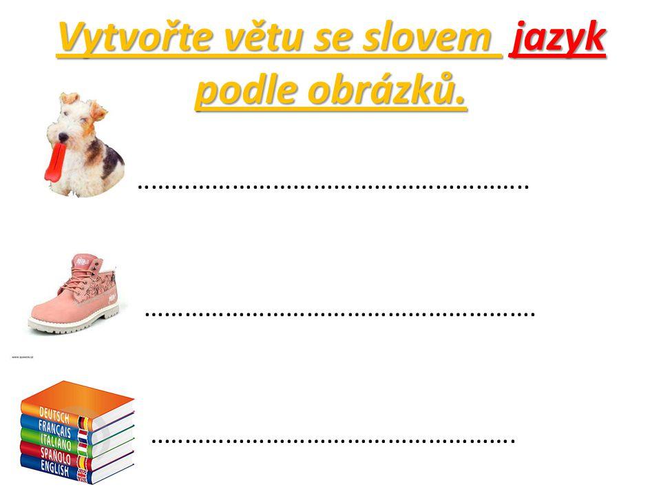 Vytvořte větu se slovem jazyk podle obrázků. ………………………………………………………………..