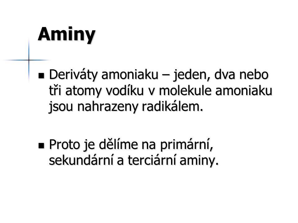 Reakce aminů Aminy jako zásady reagují se silnými kyselinami za vzniku amoniových solí.