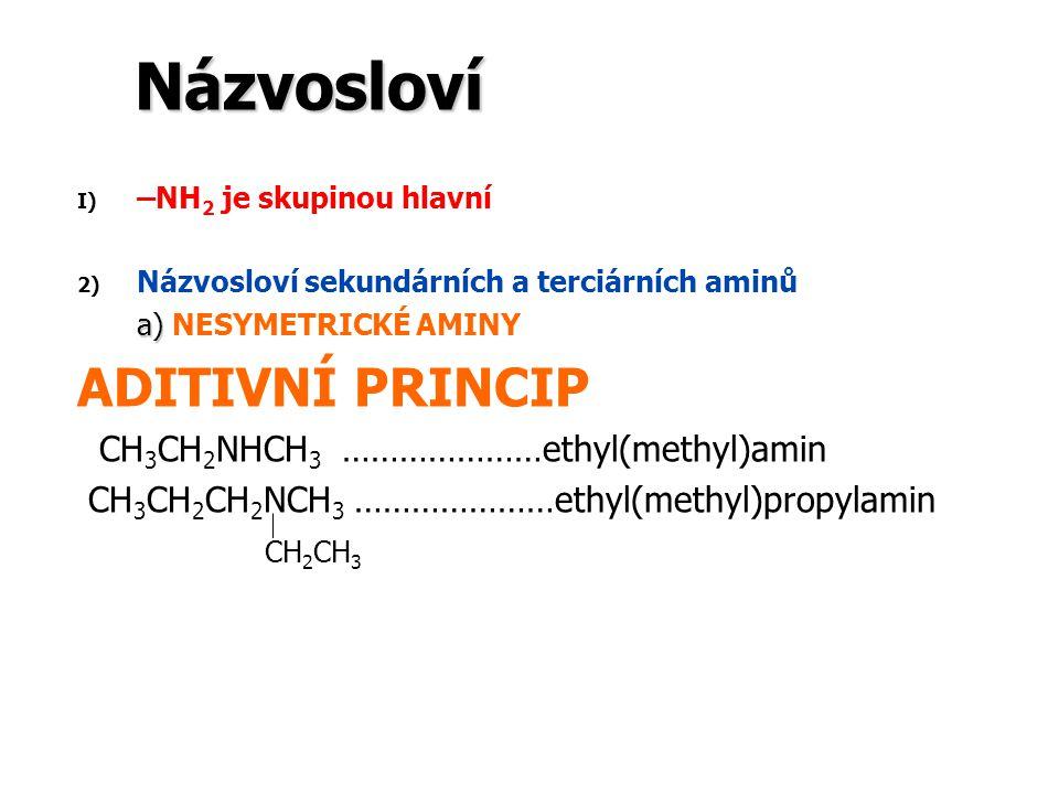 Názvosloví I) I) –NH 2 je skupinou hlavní 2) 2) Názvosloví sekundárních a terciárních aminů a) a) NESYMETRICKÉ AMINY ADITIVNÍ PRINCIP CH 3 CH 2 NHCH 3