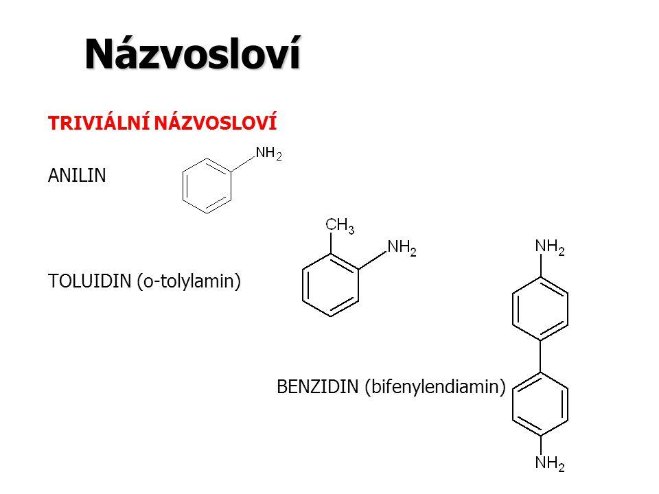 Názvosloví TRIVIÁLNÍ NÁZVOSLOVÍ ANILIN TOLUIDIN (o-tolylamin) BENZIDIN (bifenylendiamin)