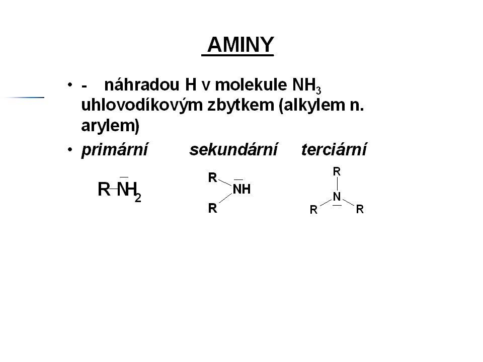 Názvosloví I) I) –NH 2 je skupinou hlavní 1) 1) Názvosloví primárních aminů a diaminů a) a) SYSTEMATICKÉ (SUBSTITUČNÍ) - K názvu uhlovodíku připojíme koncovku –amin nebo –diamin CH 3 NH 2 ……………………………….….methanamin CH 3 CH 2 CH 2 CH 2 NH 2 …………………...butan-1-amin H 2 NCH 2 CH 2 CH 2 CH 2 NH 2 ……………..