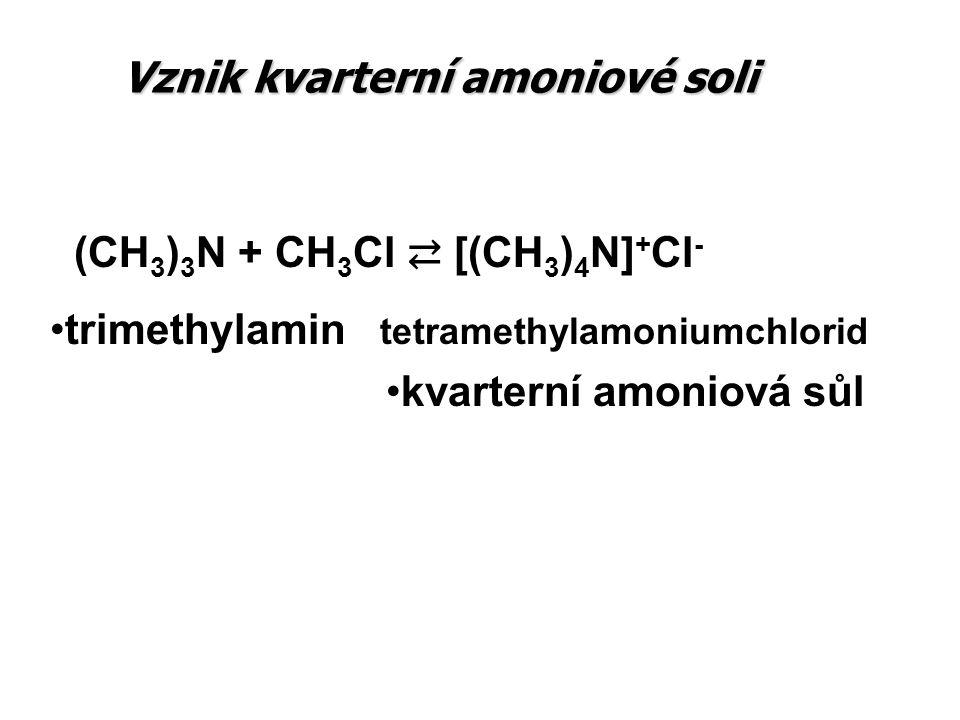 Vznik kvarterní amoniové soli (CH 3 ) 3 N + CH 3 Cl ⇄ [(CH 3 ) 4 N] + Cl - trimethylamin tetramethylamoniumchlorid kvarterní amoniová sůl