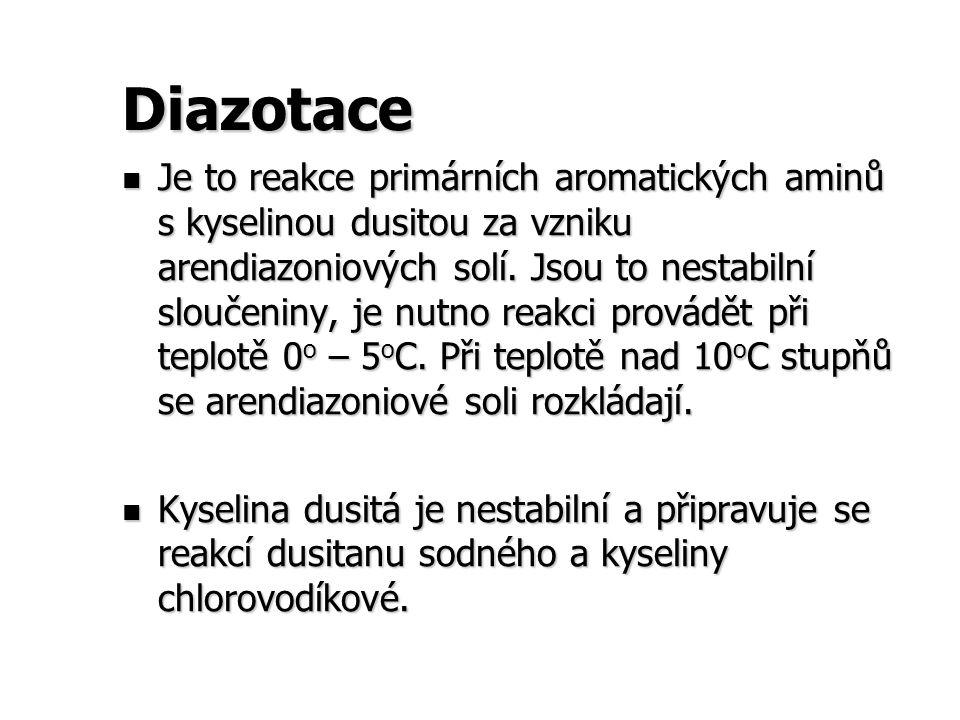 Diazotace Je to reakce primárních aromatických aminů s kyselinou dusitou za vzniku arendiazoniových solí. Jsou to nestabilní sloučeniny, je nutno reak
