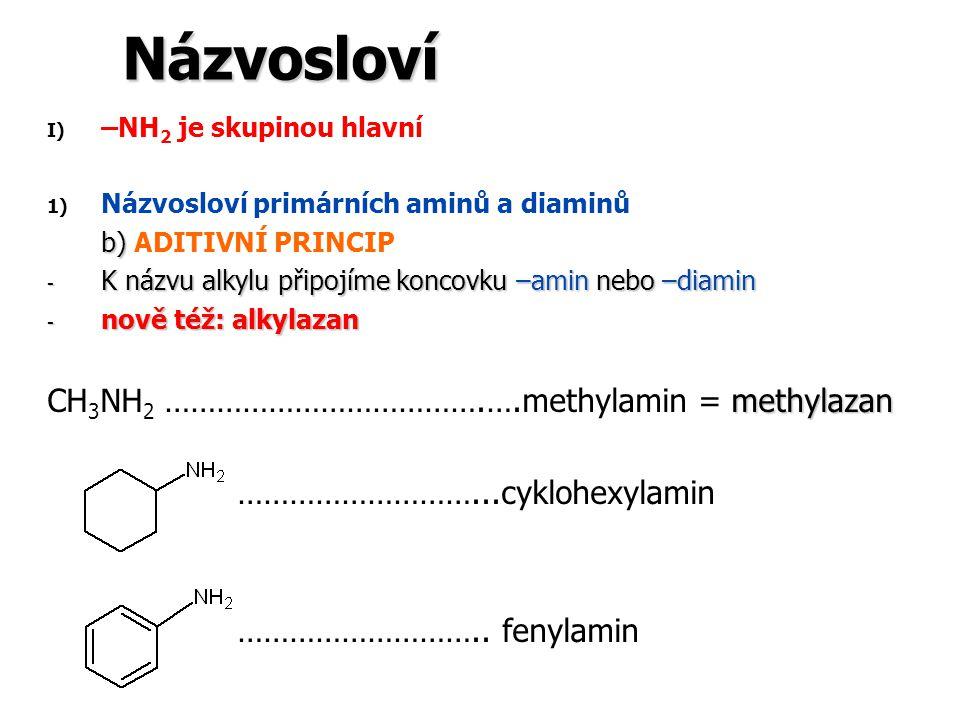 Názvosloví I) I) –NH 2 je skupinou hlavní 1) 1) Názvosloví primárních aminů a diaminů b) b) ADITIVNÍ PRINCIP - K názvu alkylu připojíme koncovku –amin