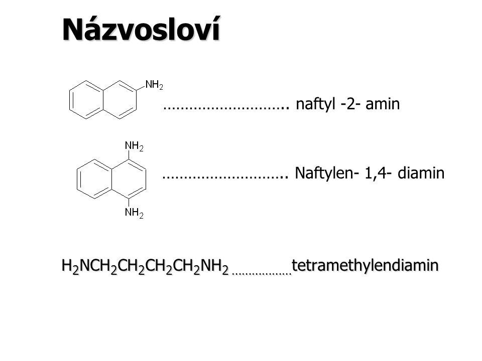 Názvosloví ……………………….. naftyl -2- amin ……………………….. Naftylen- 1,4- diamin H 2 NCH 2 CH 2 CH 2 CH 2 NH 2 ……………… tetramethylendiamin