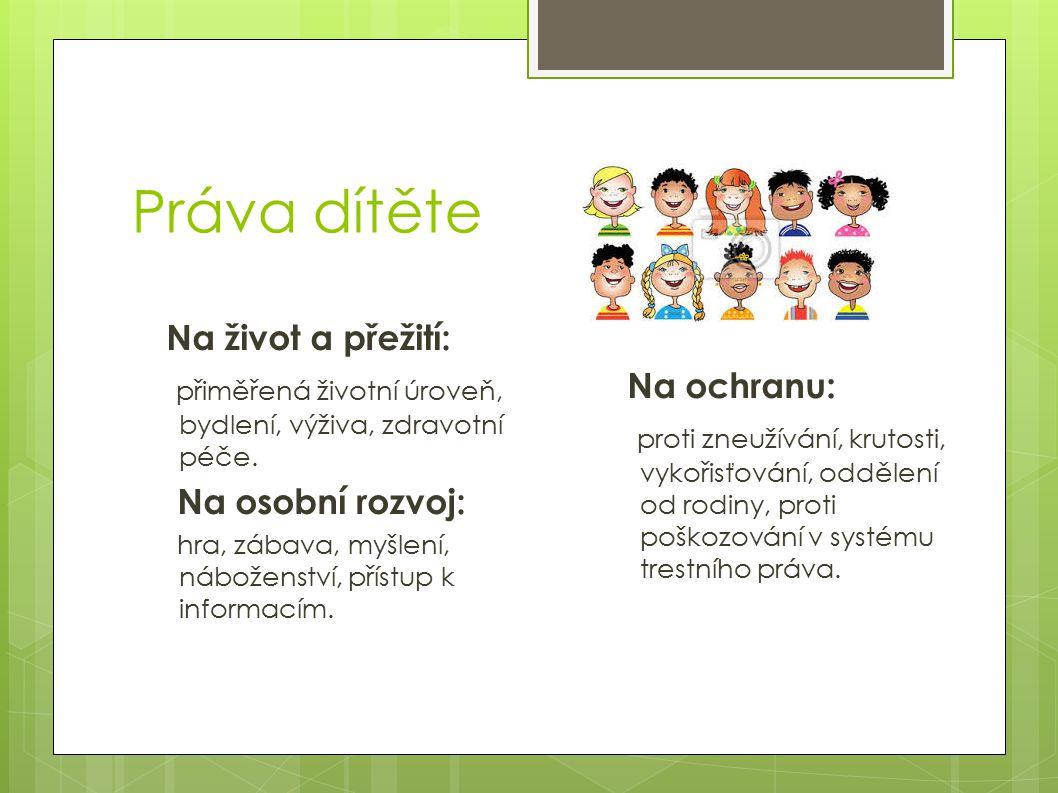 Práva dítěte Na život a přežití: přiměřená životní úroveň, bydlení, výživa, zdravotní péče. Na osobní rozvoj: hra, zábava, myšlení, náboženství, příst