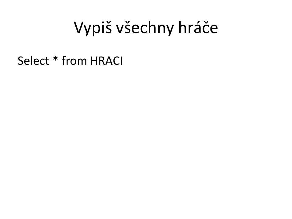 Vypiš všechny hráče Select * from HRACI