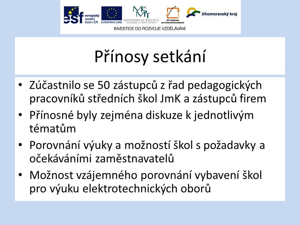 Přínosy setkání Zúčastnilo se 50 zástupců z řad pedagogických pracovníků středních škol JmK a zástupců firem Přínosné byly zejména diskuze k jednotliv