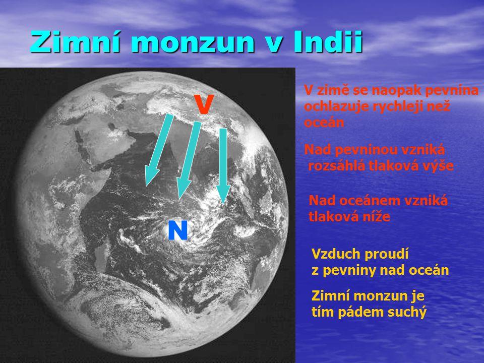 Zimní monzun v Indii V zimě se naopak pevnina ochlazuje rychleji než oceán Nad pevninou vzniká rozsáhlá tlaková výše V Nad oceánem vzniká tlaková níže N Vzduch proudí z pevniny nad oceán Zimní monzun je tím pádem suchý