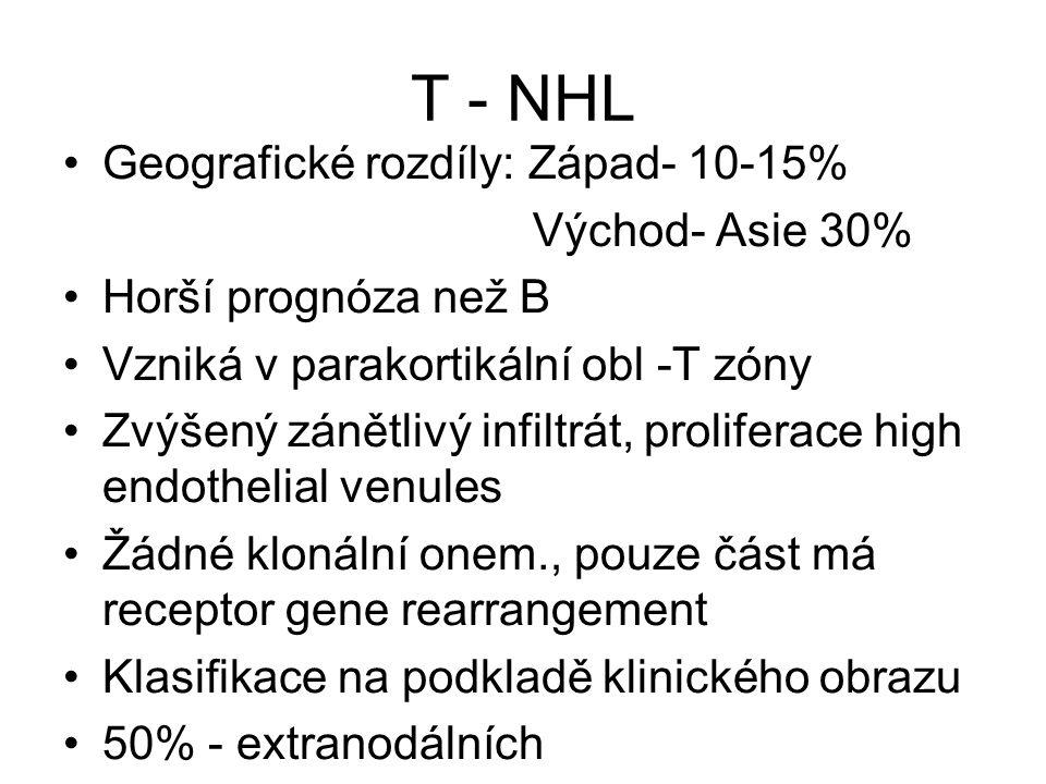 T - NHL Geografické rozdíly: Západ- 10-15% Východ- Asie 30% Horší prognóza než B Vzniká v parakortikální obl -T zóny Zvýšený zánětlivý infiltrát, prol