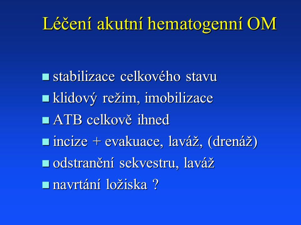Léčení akutní hematogenní OM n stabilizace celkového stavu n klidový režim, imobilizace n ATB celkově ihned n incize + evakuace, laváž, (drenáž) n odstranění sekvestru, laváž n navrtání ložiska ?