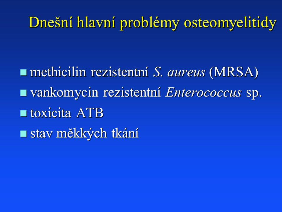 Dnešní hlavní problémy osteomyelitidy n methicilin rezistentní S.