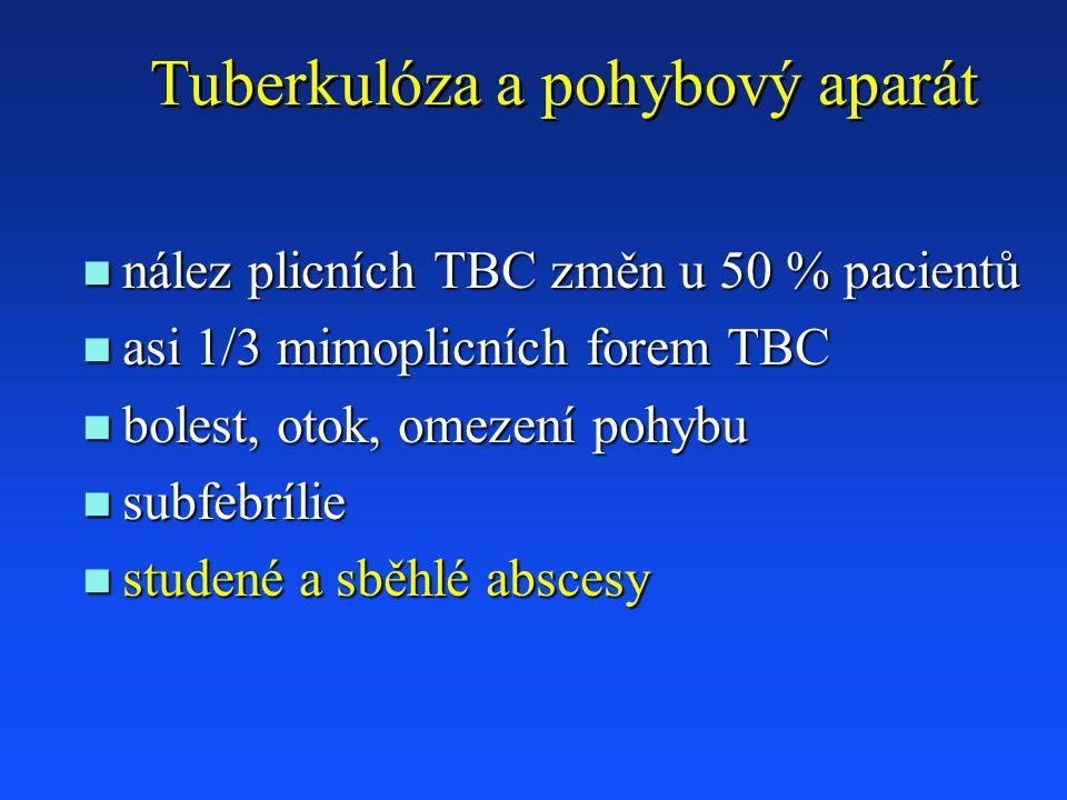 Tuberkulóza a pohybový aparát n nález plicních TBC změn u 50 % pacientů n asi 1/3 mimoplicních forem TBC n bolest, otok, omezení pohybu n subfebrílie n studené a sběhlé abscesy