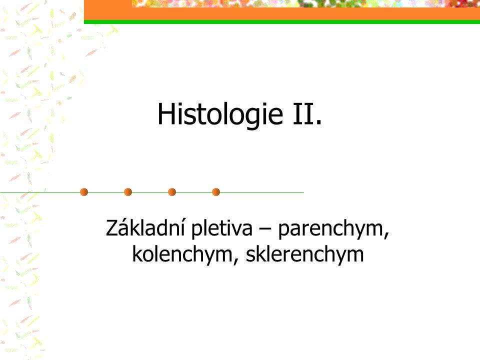 Parenchymatická pletiva živé, ± izodiametrické, tenkostěnné (primární BS), vakuolizované buňky fce syntetická, zásobní dediferenciace a rediferenciace v závislosti na ekologických podmínkách prozenchym chlorenchym aerenchym (aktinenchym) transferové buňky